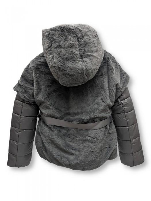 Jachetă blană cu glugă